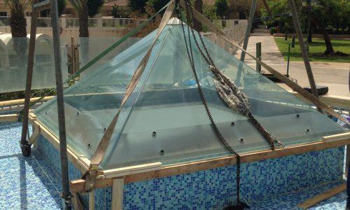 עיצוב גגות נירוסטה לבריכות ומזרקות 1